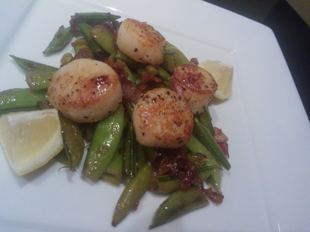 'Seared Scallops with Snap Peas & Pancetta' | Around Anna ...