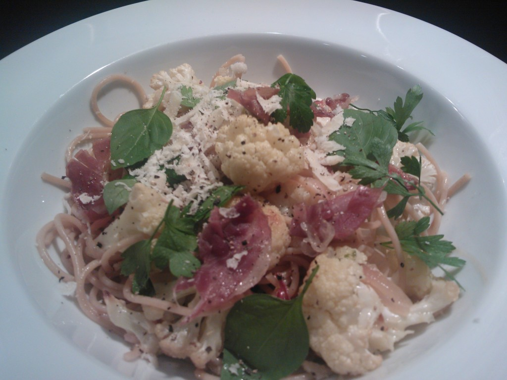 Spaghetti with Roasted Cauliflower & Crispy Prosciutto | Around Anna'...