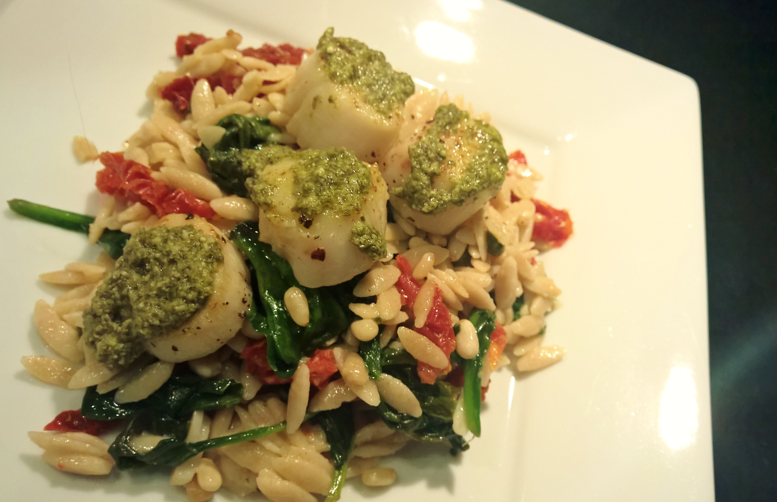 orzo and arugula pesto pasta with basil pesto pine nut s and cherry ...