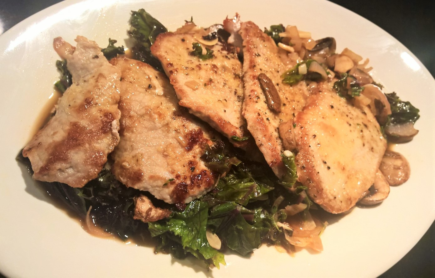 Veal Marsala with Mushrooms & Kale | Around Anna's Table