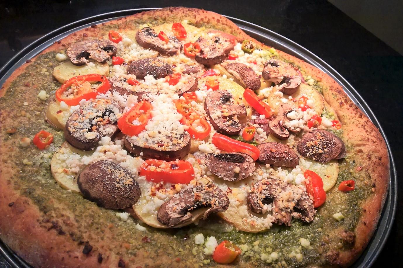 pizza-with-prosciutto-pesto-potatoes-mushrooms