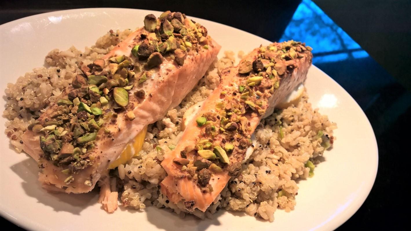 Pistachio crusted salmon with quinoa around anna 39 s table for Pistachio crusted fish