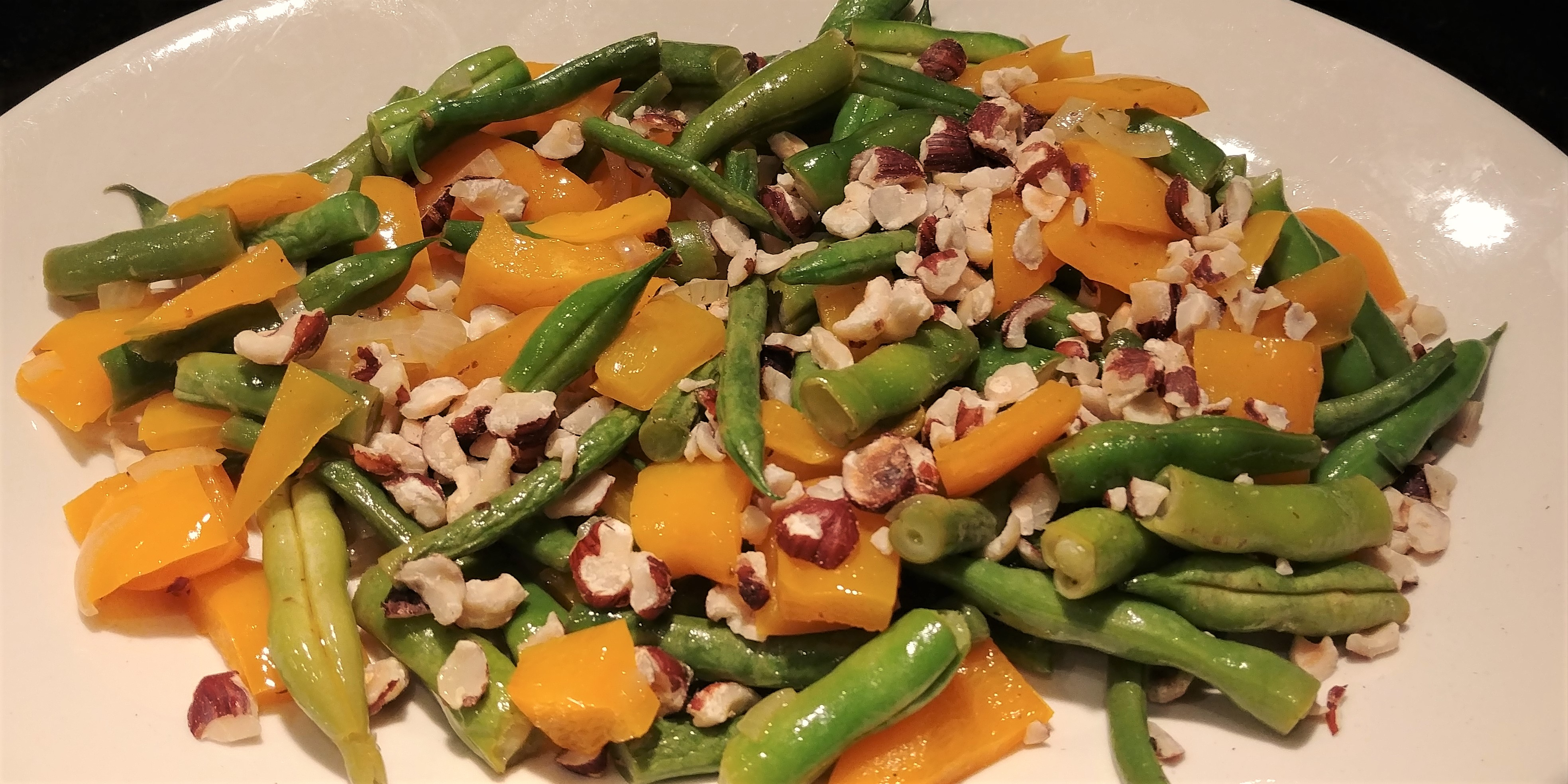 Garden Green Beans with Yellow Peppers & Hazelnuts | Around Anna\'s Table