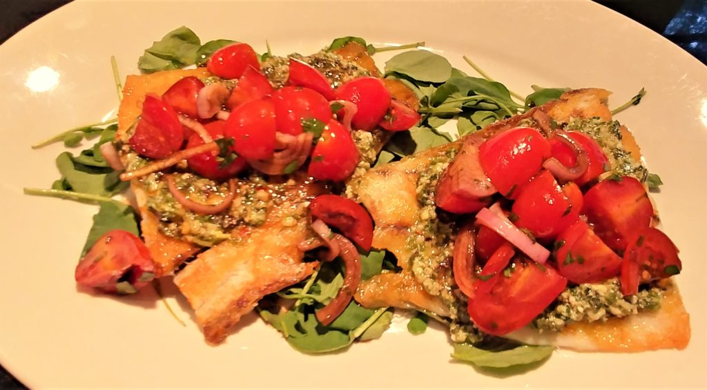 pan-seared fish with basil pesto & balsamic tomatoes | around anna's ...